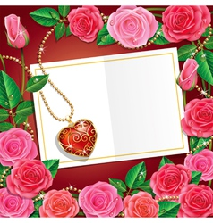 Beautiful Roses With Necklet and Card vector image
