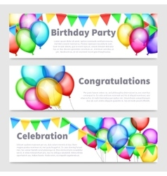 Birthday party banners with celebration rainbow vector image