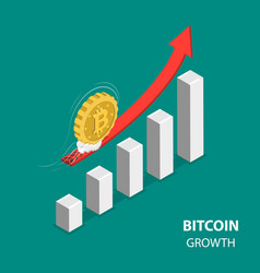 Bitcoing growth flat isometric low poly concept vector