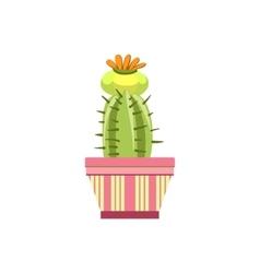 Blooming cactus in pink pot vector