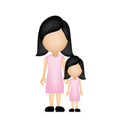 Color silhouette faceless with mother and daughter vector