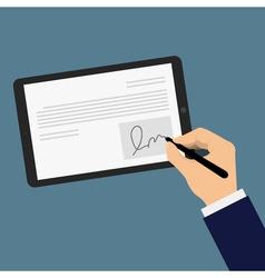 Digital signature tablet vector
