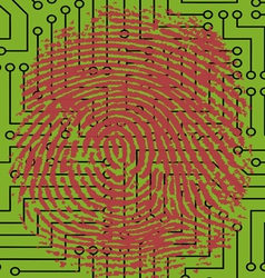Fingerprint pressed onto a Digital Circuit Board vector image