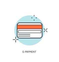 Flat lined credit card icon Internet banking vector image vector image