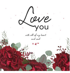 floral valentine card beauty floral art design vector image