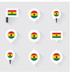 Ghana flag and pins for infographic and map design vector