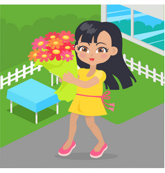 girl holds bouquet of flowers in her hands at yard vector image vector image