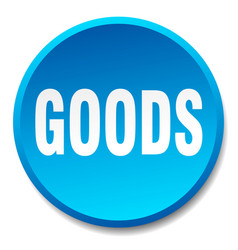 Goods blue round flat isolated push button vector