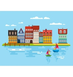 Harbor Waterfront with Boats on River vector image