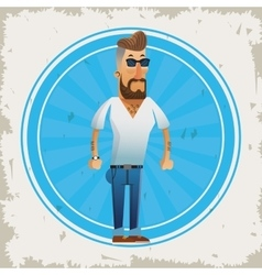 Hipster man cartoon design vector