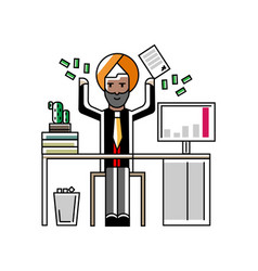 Indian businessman throwing money in the air vector