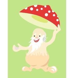 Jolly old man fly agaric mushroom takes off his vector image