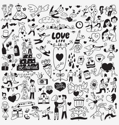 love wedding day - doodles set vector image
