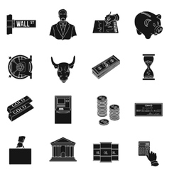 Money and finance set icons in black style big vector