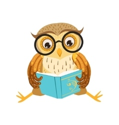 Owl reading the book cute cartoon character emoji vector