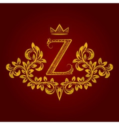 Patterned golden letter z monogram in vintage vector