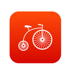 Penny-farthing icon digital red vector