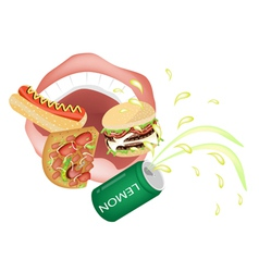 Person Eating Unhealthy Fast Food vector image vector image
