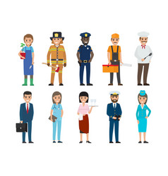 Policeman lifesaver mariner cook stewardess vector
