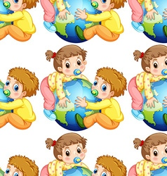 Seamless todlers boy and girl holding earth vector image vector image