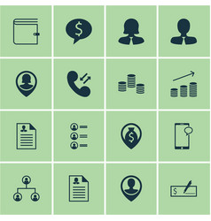 Set of 16 human resources icons includes business vector