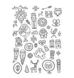 set of ethnic design elements vector image vector image