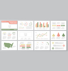 Set of green and red elements for multipurpose vector