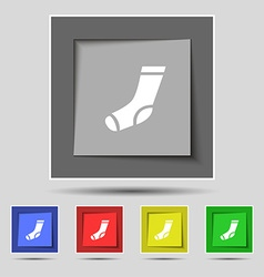 Socks icon sign on original five colored buttons vector