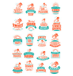 Summer holidays or vacation trip icons vector