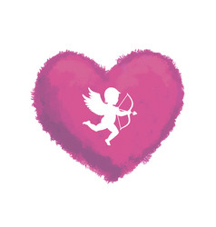 Textured heart with cupid vector
