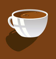 white cup with coffee on a brown background vector image vector image