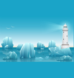 winter landscape of lighthouse in the ice vector image vector image