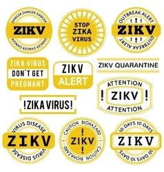 Yellow black and white zika virus stamps vector