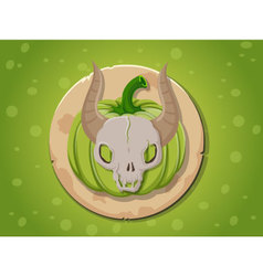 Skull pumpkin icon vector