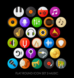 Flat round icon set 2-music vector