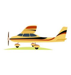 Modern yellow aeroplane on white background vector