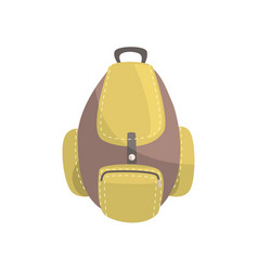 Khaki and brown backpack classic styled rucksack vector