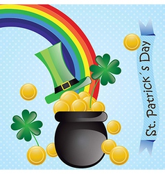 St patricks day elements rainbow hat money on blue vector