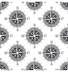 Seamless nautical pattern with old compass vector image