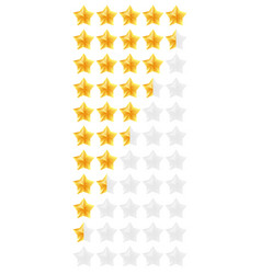 3d gold stars rating icon set isolated quality vector image vector image