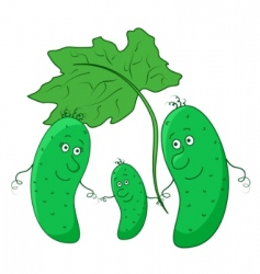 Cucumber parents with child vector
