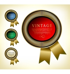 Retro golden framed label premium design vector