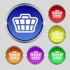 Shopping cart icon sign round symbol on bright vector