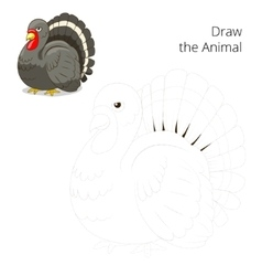 Draw the animal turkey educational game vector