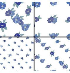 Set of four seamless patterns with blue flowers vector