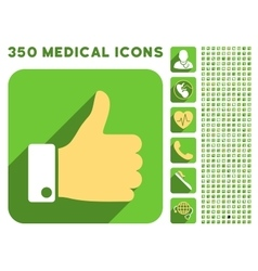 Thumb up icon and medical longshadow icon set vector