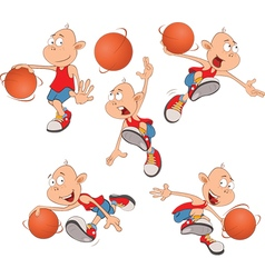 Cute little boys basketball play vector
