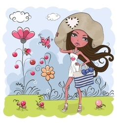 Girl on a meadow vector
