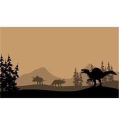 Silhouette of spinosaurus and triceratops vector