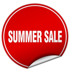 Summer sale round red sticker isolated on white vector